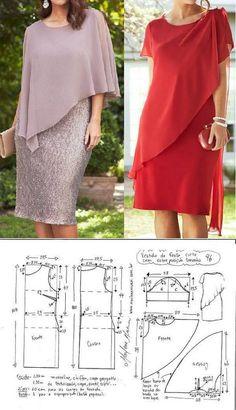 El patrón koktelnogo los vestidos para las señoras pomposas (la Costura y el corte) Sewing Dress, Dress Sewing Patterns, Sewing Clothes, Clothing Patterns, Blouse Patterns, Doll Clothes, Fashion Sewing, Diy Fashion, Fashion Dresses
