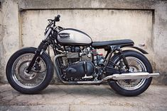 "The latest from Cafe Racer Dreams of Spain: the Triumph Bonneville ""Silver Eyes""."