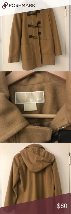 Michael kors wool camel toggle pea coat Tan/camel colored wool michael kors pea coat. Super cute toggle closure and beautiful hardware. Low wear, maybe max 5 times. It has been sitting in my closet for a long time and it's such a great piece it deserves a better home. Size is 8Petite. I'm a small/extra small usually and it fits me perfectly. It would look great on even a smaller medium I'd say. MICHAEL Michael Kors Jackets & Coats Pea Coats