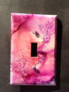Handpainted Switch Plate Cover - Soft Pink Peach Lavender w/ Abstract Flowers (No 1) Wall Decor