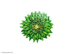 Green Spring Dahlia Flower Art Brooch by AtelierDenise on Etsy, $15.00