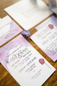 Fairy Tale Inspired Lavender Wedding Ideas | Everlasting Love Photography Purple watercolor design.