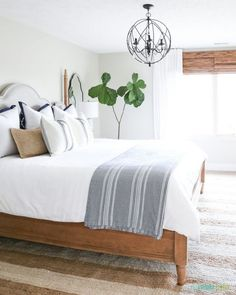 neutrals with calming colors in the bedroom help you sleep!