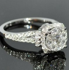 1.2CTW Diamond Engagement Ring Bridal 2ct Solitaire look 14K White Gold Halo NEW