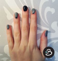 Gel Manicure | Blowdry! Blowdry Bar ORLY Gel FX polish in gray and shade shifting black with embellishments. The black nail changes to gray when warm and back to black when cold.