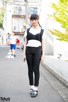 [Bustier / Bra Over T-shirt] Top 10 Japanese Street Fashion Trends - Summer 2014!  it is an extension of the harness-over-clothing trend that's been going strong in Tokyo (and worldwide) for a few years. It could also be influenced the Kinji/Cult Party girls who wear lingerie (usually negligees) as outerwear. We've even seen a few girls this summer wearing lace garters over jeans, taking the innerwear-as-outerwear same concept to another level. #Bustier #TokyoSummer2014