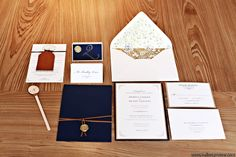 Fall wedding featuring classic, rustic style with a touch of glamor. The combination of rich leather, gold and navy