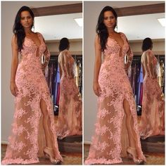 2017 Custom Charming Pink Lace Prom Dress, One Sleeve Evening Dress,Deep V-Neck Party Dress,Beading Party Dress
