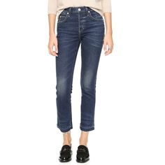 AMO Amo Babe Cropped Jeans - True Blue (15,940 INR) ❤ liked on Polyvore featuring jeans, high waisted skinny jeans, cropped frayed jeans, high rise skinny jeans, cropped skinny jeans and high rise cropped jeans