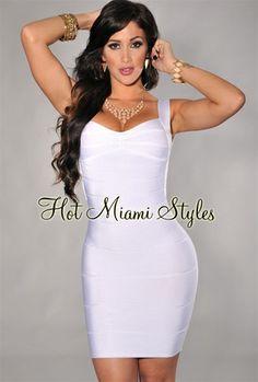 White Plunging Back Silky Bandage Dress$69
