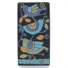 Birds ,Ceramic tile,Whimsical,turquoise,yellow, handmade, wall art, home decor, 3x6 inch raku fired art tile by DavisVachon on Etsy https://www.etsy.com/listing/489988341/birds-ceramic