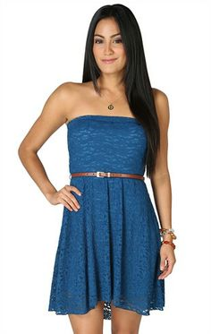Deb Shops Allover #Lace Strapless Belted Waist High Low $34.90