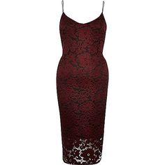 Red lace cami bodycon midi dress - bodycon dresses - dresses - women