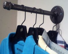 """Industrial Pipe Clothing Hook Garment Hanger 10"""" Faceout"""