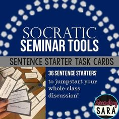 $ - Set of 36 sentence starter task cards to guide students in Socratic Seminars - Great for students who are shy, unfocused, or unfamiliar with formal whole class discussions!