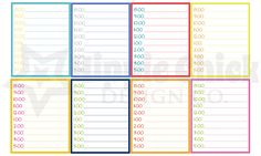 Timed M/D/N Boxes   Set of 16   Erin Condren Life Planners, Planning, Calendars