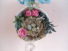 Birds Nest Assemblage Ornament Vintage Crystal Childrens Cup Pink Roses Shabby Chic OOAK