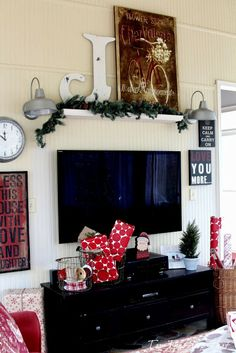 Shelf above TV Top This Top That: Christmas Home Tour 2013