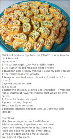 Yummy, although it makes A LOT!  Maybe cut recipe in half?  Chicken Enchilada dip roll-ups to try.  Revised recipe to use 1 can chix & low carb whole wheat tortillas (12 servings, 5 pts)
