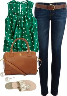 Polkadot Shirt, Denim Jeans and The Perfect Shoes! This outfit Is Fabulous!