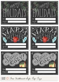 Printable chalkboard-style gift tags