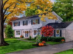 11 watercolor house portrait of suburban residence in Fall season. Created by Custom House Portraits by Richelle Flecke Barn Art, House Landscape, Watercolor Portraits, Fall Season, Painting On Wood, Custom Homes, Home Art, Exterior, House Styles