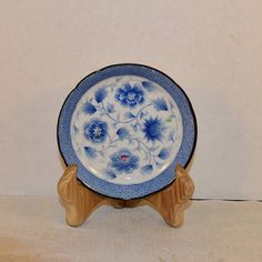 Blue and White Lotus Bread u0026 Butter Plate Vintage Small Asian & Hyalyn Pink Rose Coaster Vintage American Pottery Small Plate Pink ...
