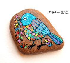 Hand Painted Stone Bird