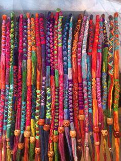 HANDMADE custom wool DREADLOCKS hair wraps beads.