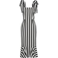 Dolce & Gabbana Striped crepe dress (£780) ❤ liked on Polyvore