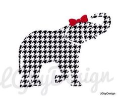 Houndstooth Elephant Decal with Dark Red Bow by LGbyDesign on Etsy Alabama Logo, Alabama Football, Alabama Crimson Tide, Alabama Elephant, University Of Alabama, Roll Tide, Door Hangers, Houndstooth, Dark Red