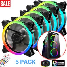 RGB Computer Fan LED Air Cooling Pack 120mm PC Case Remote Control Desktop Kit