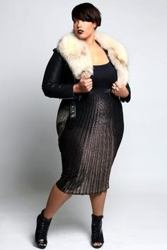 plus size faux fur outfit pencil skirt Nichole Smith #UNIQUE_WOMENS_FASHION This versatile plus size dress is sure to become your go to for office parties, dressy occasions and a night on the town! A classic plus size cocktail dress in a shape that flatters every body type https://slimmingbodyshapers.com #slimmingbodyshapers