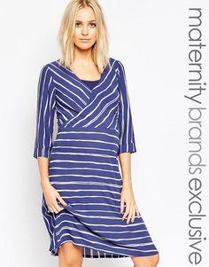Image 1 ofMamalicious Nursing Wrap Front Stripe Dress