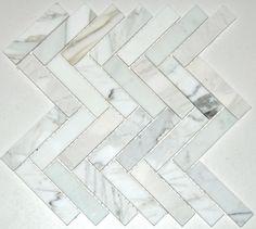 Brocade | Waterjet Mosaic Tile | Architectural Ceramics 1x4 Brocade Calacatta Gold Polished Herringbone Mosaic