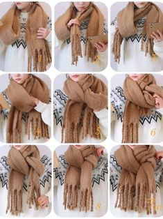 Pin by Andreas on Schal binden in 2020 How To Wear A Blanket Scarf, Ways To Wear A Scarf, Diy Scarf, How To Wear Scarves, Casual Winter Outfits, Fall Outfits, Mode Outfits, Fashion Outfits, Ways To Tie Scarves
