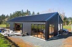 Modern Barn House, Barn House Plans, Barn Plans, Modern Garage, Metal Barn Homes, Pole Barn Homes, Steel Building Homes, Building A House, Morton Building Homes