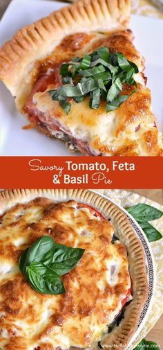 This Savory Tomato, Feta, and Basil Pie is a delicious twist on the Southern classic! Bursting with fresh summer flavors, you'll want to enjoy this classic tomato pie all season long! | Hello Little Home