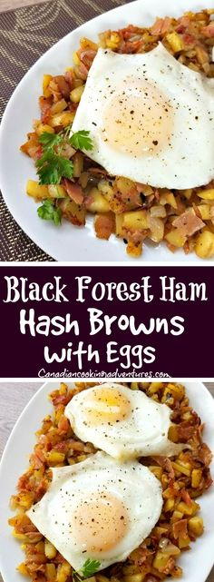 Black forest ham hash browns with eggs! Fun Easy Recipes, Ham Recipes, Quick Dinner Recipes, Quick Easy Meals, Indian Food Recipes, Healthy Recipes, Amazing Recipes, Budget Recipes, Potato Recipes