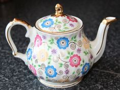 SADLER *RARE* VINTAGE ONE CUP TEA POT - GOLD TRIM & CHINTZ FLOWER DESIGN | eBay