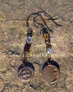 Sun And The Moon Earrings by lilriverdesigns on Etsy, $28.00