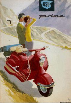 Vintage German Scooters from NSU Scooter Bike, Lambretta Scooter, Vespa Scooters, Vintage Advertisements, Vintage Ads, Vintage Posters, Vintage Bikes, Vintage Vespa, Motor Scooters