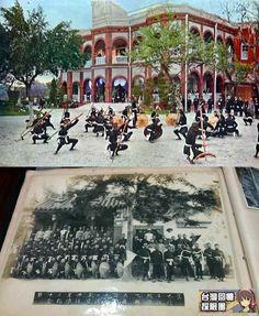 感謝團友Prince Wang提供一張寶貴的老照片,  上圖為1923年日本皇太子裕仁來台行啟時,4月20日在台南州知事官邸觀賞宋江陣表演的照片(出處: 1923行啟紀念寫真帖)。 下圖為Prince Wang提供之家族老照片,可能是當時表演宋江陣的團隊出發前合影。