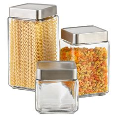 The Container Store, Glass & Brushed Aluminum Canisters made in USA.