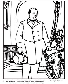 free printable president grover cleveland biography and coloring picture