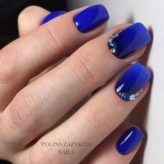 Bright summer nails, Dark blue nails, Exquisite nails, Festive nails, Nails with rhinestones, Ombre nails, overflow nails, Stylish nails