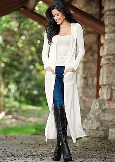 OFF WHITE Two pocket duster, cami, jeans, boots from VENUS -$39,$14,$29,$89
