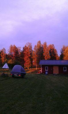 Keskiyön aurinko värjää puut kuin ruskan väreihin. Kesäkuun puoliväliä mennään.