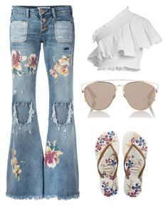 """""""Untitled #4995"""" by im-karla-with-a-k ❤ liked on Polyvore featuring OneTeaspoon, CECILIE Copenhagen, Havaianas and Christian Dior"""