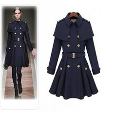 Lady's Woollen Overcoat Fashion 2013 Cloak Wool Coat Double Breasted - flared